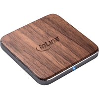 InLine® Qi woodcharge, caricabatterie rapido wireless per smartphone,  5/7,5/10W